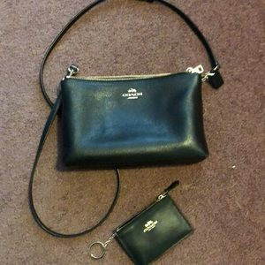 Coach Black Crossbody with change wallet